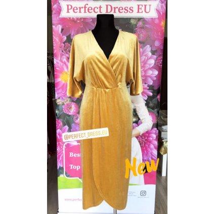 Zlaté velurové šaty s krátkým rukávem a obálkovým výstřihem M/L