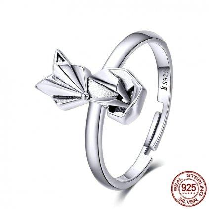 Stříbrný prsten roztomilá liška nastavitelná velikost (12)