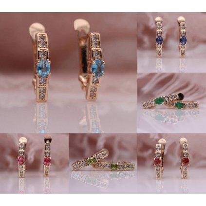 Miniaturní náušnice pozlacené s kamínky (15)