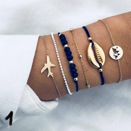Sada modních letních náramků stříbrné barvy (1)