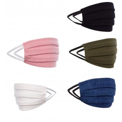 Ochranné bavlněné roušky ústní proti virům 2 vrstvy růžné barvy (4) — копия