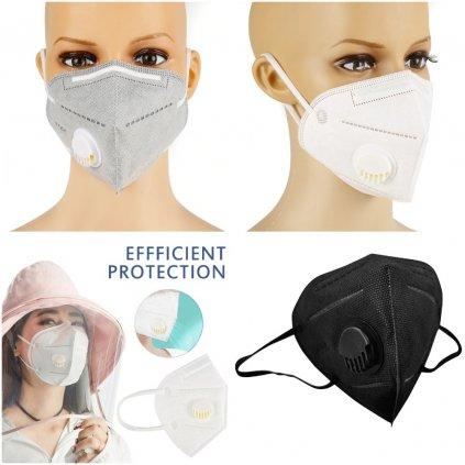 Respirační roušky s filtrem N95 respirátor s ventilem FFP2