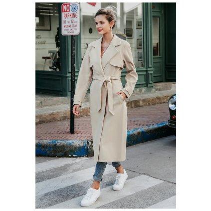 Dámský módní béžový kabát trenč vlněný s dlouhým rukávem (5)