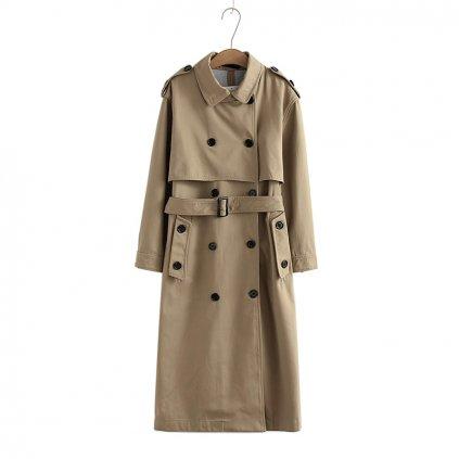Dvouřadý trenč kabát s límcem páskem a dekorativními knoflíky (9)