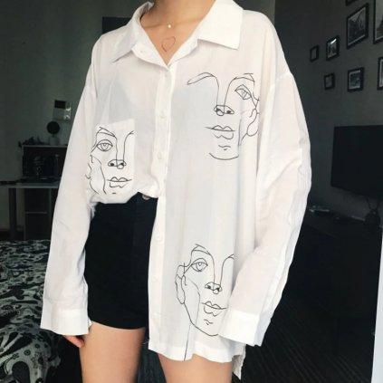 Modní košile oversize se vzorem ve tbaru obličeje (4)