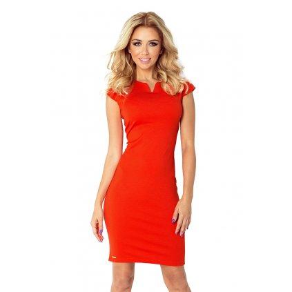Elegantní pouzdrové šaty oranžové s výkrojem ve výstřihu VEL. L (10)