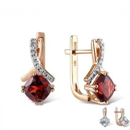 Nádherné minimalistické náušnice růžové zlato s rubíny (1)