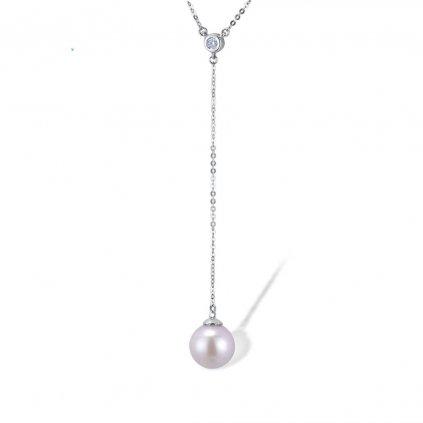 Dlouhý stylový náhrdelník bílé zlato s perlou (5)