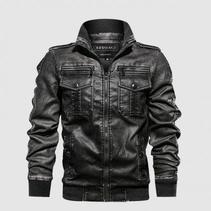 Stylový dámský černý kožený kabat (1)