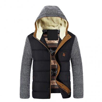 Teplá bunda s peří černá pro pány (1)