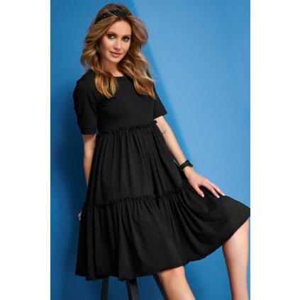 Jemné a lehké empírové šaty po kolena s krátkými rukávy (5)