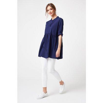 Košilová tunika oversize volný stčih se srolovanými rukávy (15)