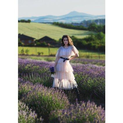 Tylové midi šaty společenské volánkové šaty s krátkým rukávem (1)