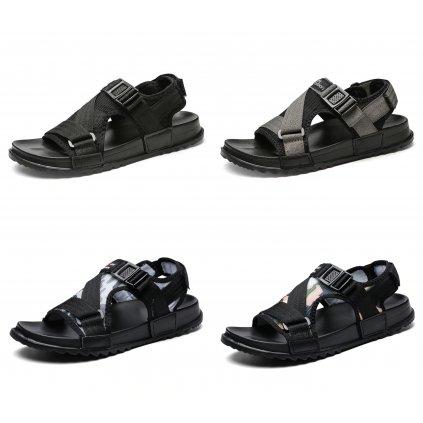Síťované páskové panské sandály šedé (8)