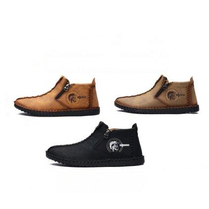 Pánské kotníkové zimní boty na zip hnědé (2)