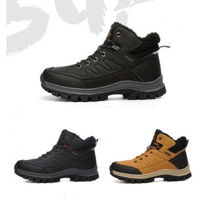Teplé boty pro muže voděodolné černé barvy (9)