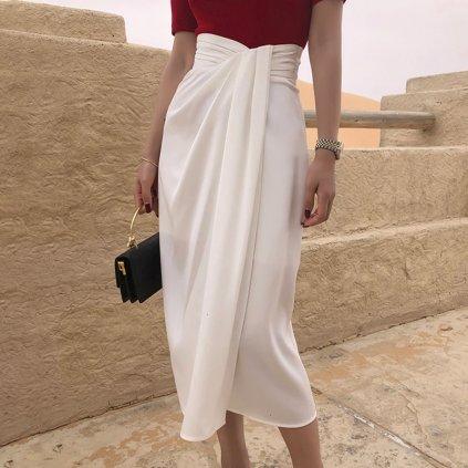 Stylova asymetrická sukně midi červená (1)