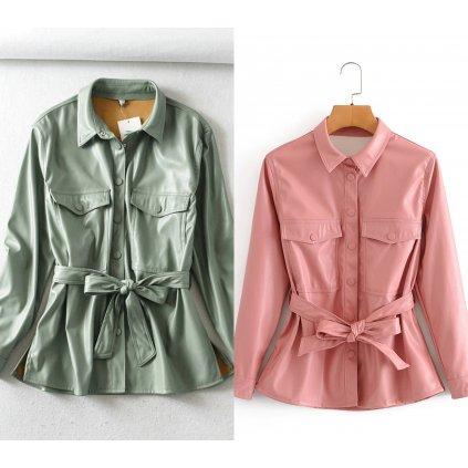 Modní dámská kožená bunda růzová s páskem (15)