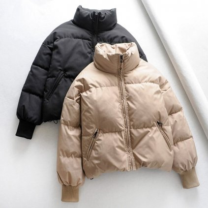 Masivní dámská zimní bunda s podšivkou béžová (2)