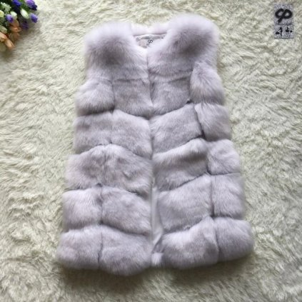 Módní kožešinová vesta kožich bez rukávů umělý různé barvy (1)