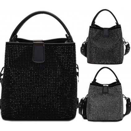 Lesklá mini kabelka černé barvy pro dámy (17)