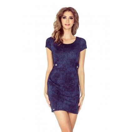 Džínové šaty demin tmavě modré s krátkým rukávem VEL. XS (4)