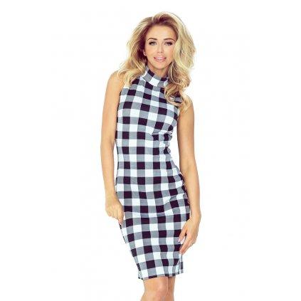 Kostkované šaty kárované elegantní rolák šaty bez rukávů VEL. XS (7)