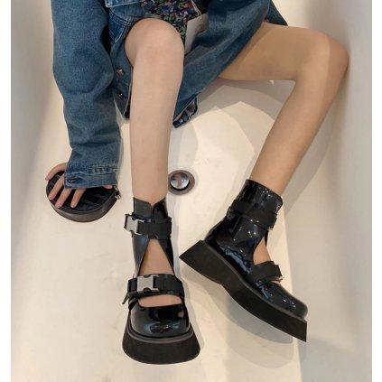 Módní lakované boty s pásky obuv s přezkami na zacvaknutí (4)