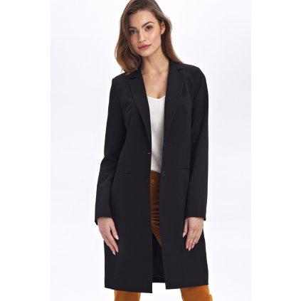 Černý kabátek po kolena dlouhé sako na knoflíky s podšívkou (1)