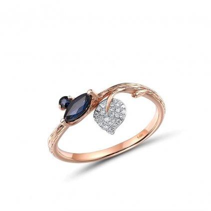 Vyjímečný prsten ve tvaru větví stromu s třpytivým listem (1)