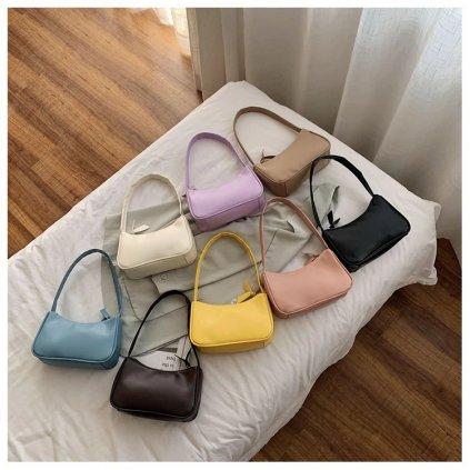 Mini kabelka přes rameno levandulové barvy na zip (9)