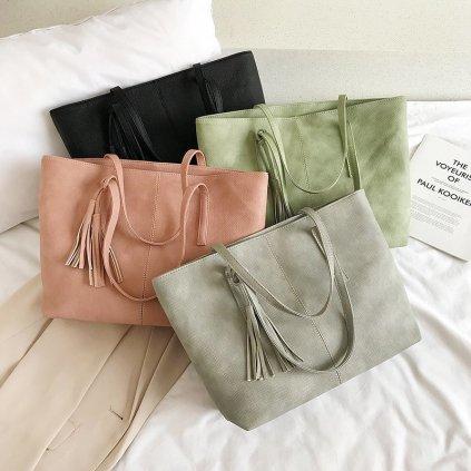 Prostorná kabelka na zip s přívěskem pastelové barvy (5)