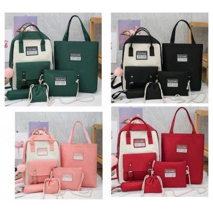 Stylová sada 5 v 1 batoh taška kabelka sáček penál zelené barvy (1)