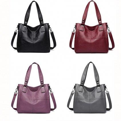 Klasická dámská kabelka prostorná šedé barvy přes rameno (9)