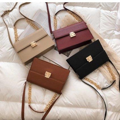 Vintážní prostorná kabelka pro dámy držicí tvar bordová (5)