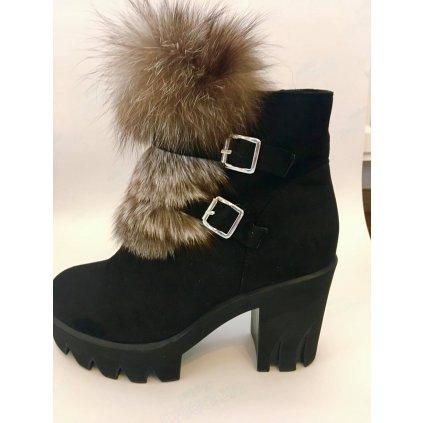 Semišové polokozačky zimní boty na podpatku s králičí srsti 41 (5)