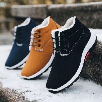 Pánské kotníkové boty ze semišu černé barvy s podšívkou (15)