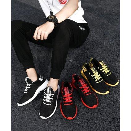 Sportovní tenisky pro pány černé barvy s barevnou podrážkou (8)