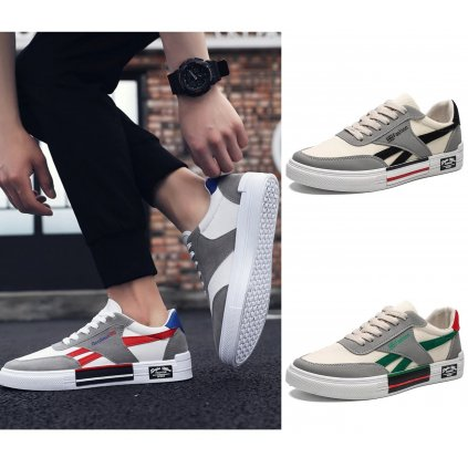 Stylové skejtařské boty šedé barvy zdobené barevnými pruhy (2)