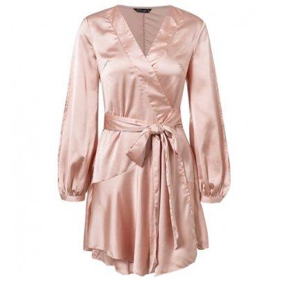 AKCE Letní saténové krátké šaty s volány, flare rukávy a výstřihem