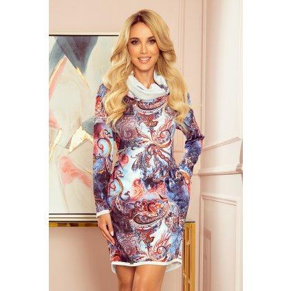Dámské svetrové šaty s rolákiem a barevným vzorem (6)