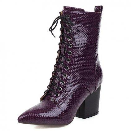 Kotníkové lakované boty kožené krokodýlí kůže se šněrováním (5)