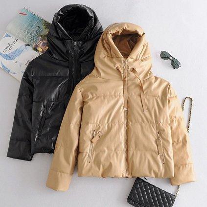 Zimní kožená bunda s kapucí dámská prošívaná bunda s podšívkou (8)