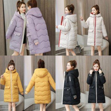 Prošívaná zimní bunda dámská s velkými kapsami a kapucí (16)
