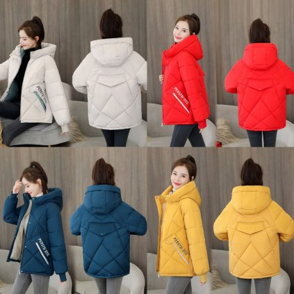 Módní oversize bunda zimní prošívaná bunda s podšívkou a kapucí (19)