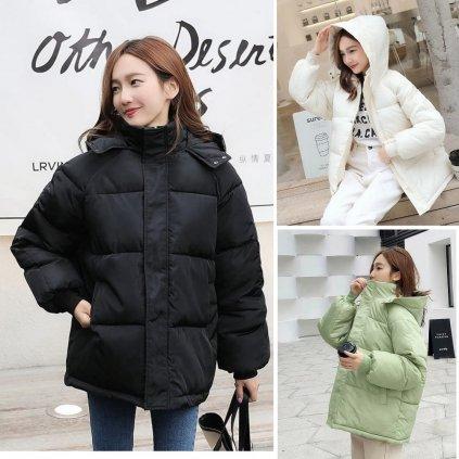 Dímská oversize módní bunda s prošíváním a kapucí (29)