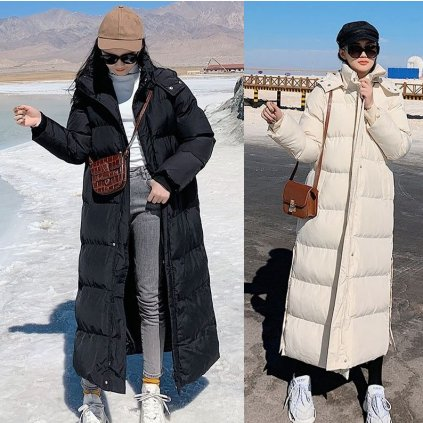 Dámská dlouhá bunda s prošíváním zimní parka s kapucí (19)