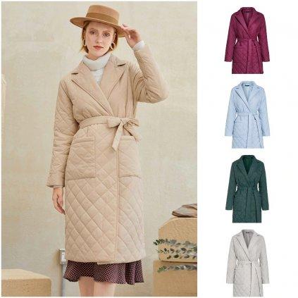 Módní županový kabát zimní prošívaný kabát s podšívkou (23)