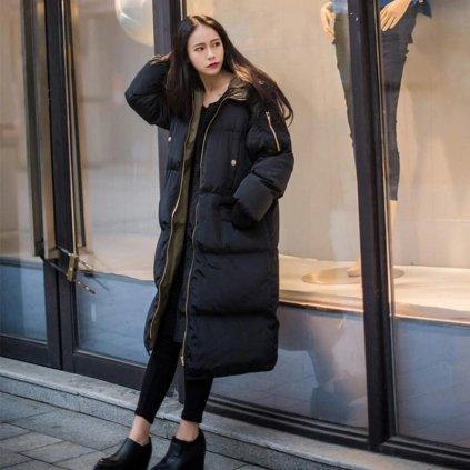 Černá oversize bunda zimní prošívaná dlouhá bunda na zip (4)