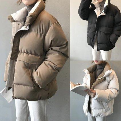 Zimní krátká bunda overtsize stylová bunda s kapsami a podšívkou (21)